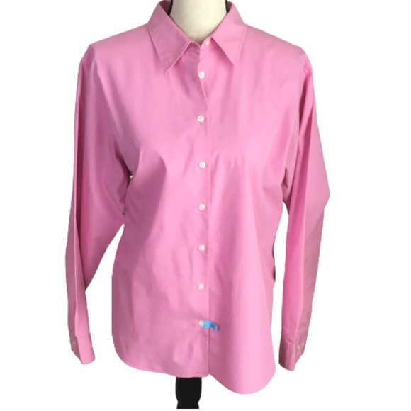 Lands' End Pink Button Up Long Sleeve Blouse 18